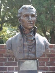 Bronze Bust of James Monroe in the Museum garden