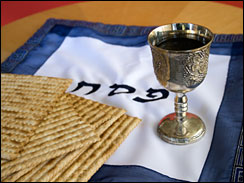 Matzo and a wine in a Kiddush cup with the words PESACH (Passover in Hebrew. More images of Shabbat & Jewish Holidays: